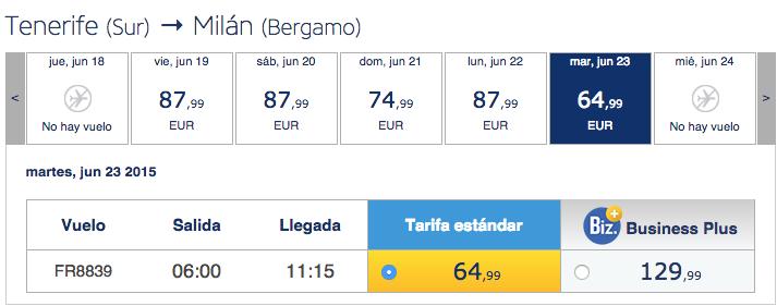 volo diretto Milano Tenerife