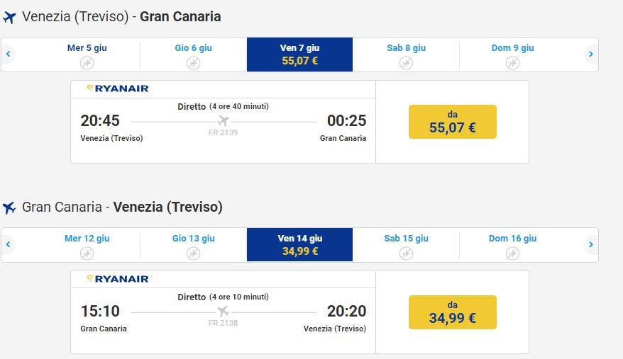 voli per le isole Canarie